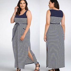 Torrid 00 White and blue stripe Maxi dress.